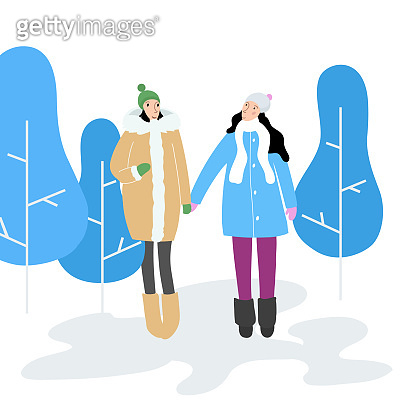 Two young girls in a winter park - vector characters for New Year and Christmas cards.