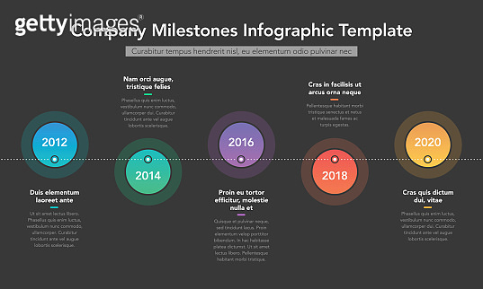Company milestones timeline with colorful circles and place for your description - dark version