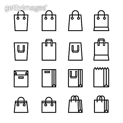 Set of Minimal Shopping bag line icons black color and flat style isolated on white background.