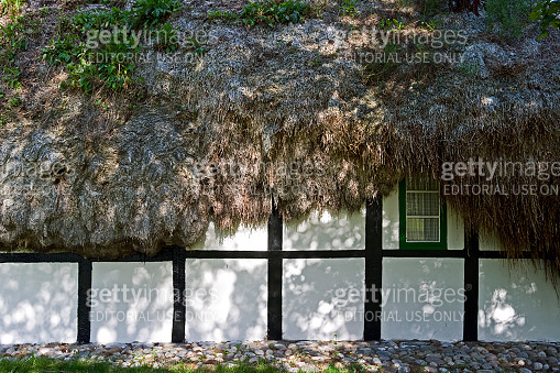 Denmark: Shadow play on the facade of an old cottage with seaweed roof