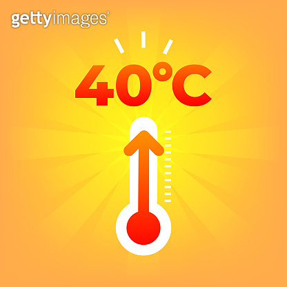 Heat thermometer 40 degrees celsius. Summer weather.