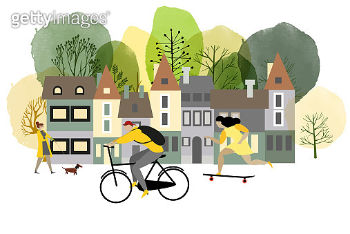 City activites. Vector flat cartoon. Watercolor vector illustration.
