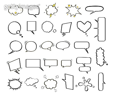 Large collection of empty comic speech bubbles of different shapes. Black and white vector illustration