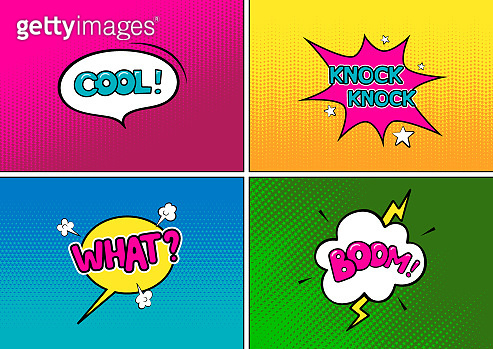 Set of bright different pop art backgrounds and speech bubbles.  Dots and halftones. Vector illustration
