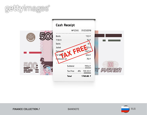 Receipt with 1000 Russian Ruble Banknote. Flat style sales printed shopping paper bill with red tax free stamp. Shopping and sales concept.