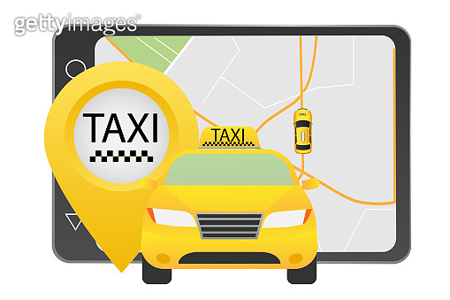 Taxi and GPS on tablet