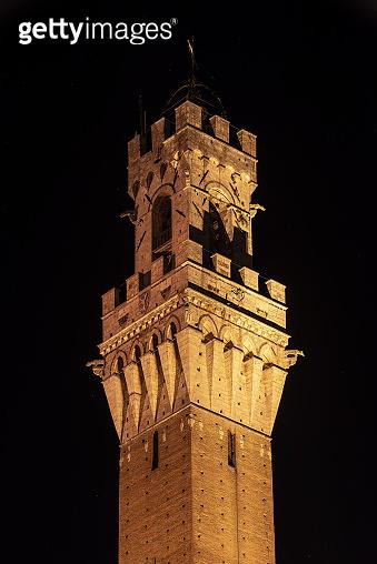 Torre del Mangia at Night - Tuscany Italy