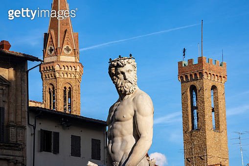 Statue of Neptune the Roman God - Florence Italy