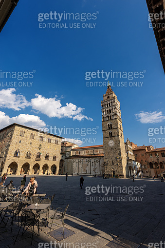 Piazza Duomo - Cathedral square in Pistoia Tuscany Italy