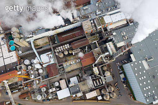 Paper Mill and Smoke from Chimneys, Aerial View