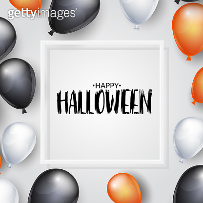 Happy halloween background with white, black, and orange helium balloons and a square frame. Vector illustration.