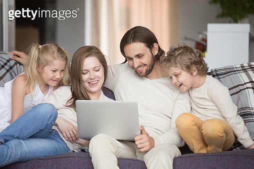 Whole family spending time together at home