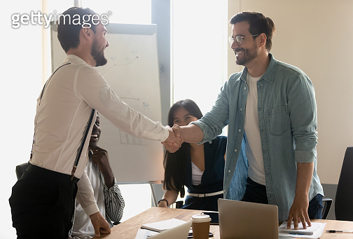 Smiling male partners greeting handshaking at diverse corporate group meeting