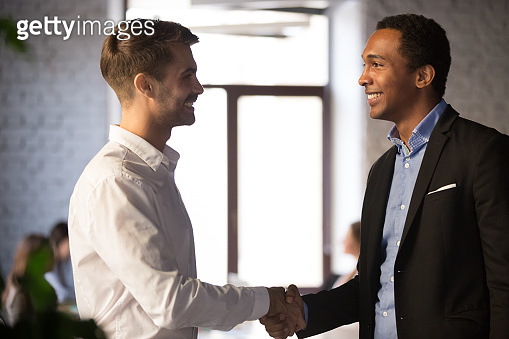 Side view black and caucasian businessmen shaking hands