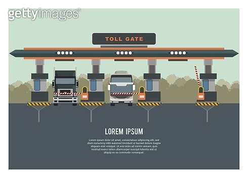 Group of vehicle entering highway gate with one gate opened. Trees silhouette background. Simple Illustration.
