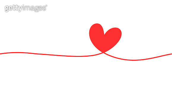 Heart shape mono line. Hand drawn silhouette calligraphic element. Flourish clipart.