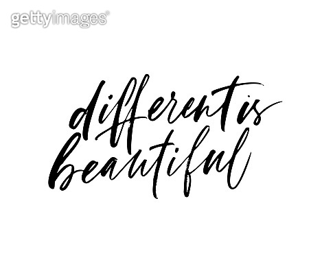 Different is beautiful phrase. Vectorillustration of handwritten lettering.