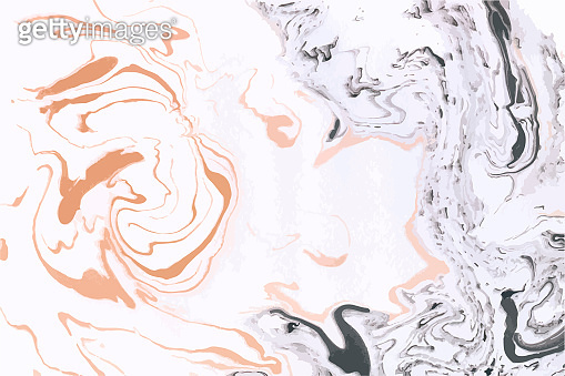 Abstract vector marble background. Orange, black and white colors.