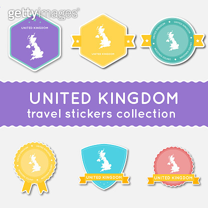 United Kingdom travel stickers collection.