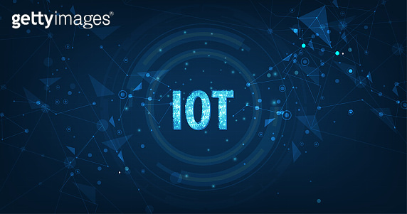 Internet Of Things (IOT) Concept.Big Data Cloud Computing Network Of Physical Devices With Secure Network Connectivity on dark blue color background.