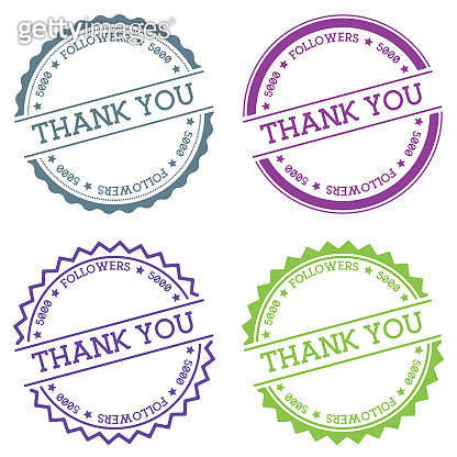 Thank you 5000 followers badge isolated on white background.