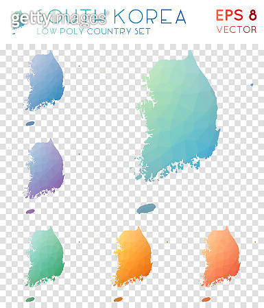 South Korea geometric polygonal maps, mosaic style country collection.