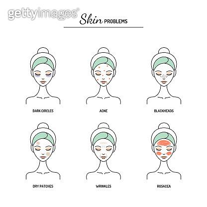 Basic skin problems chart line vector illustration.