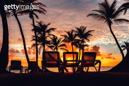 Tropical beach background as summer landscape with Beach chairs and beautiful sea view.