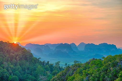 Majestic mountain landscape at sunset