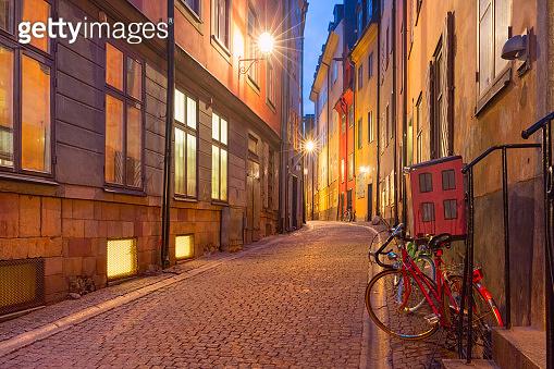Empty street in Stockholm, Sweden