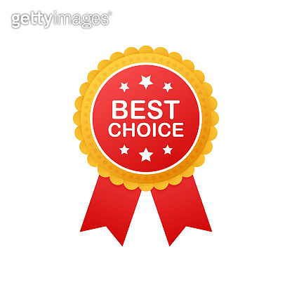 Best choice, realistic red fabric award ribbon. Vector illustration.