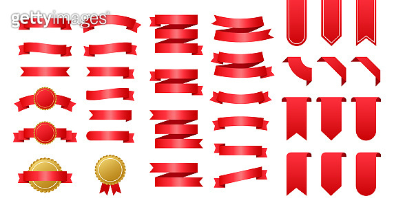 Red ribbons banners. Set of ribbons. Vector stock illustration.