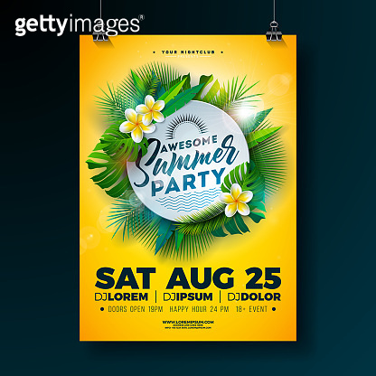 Vector Summer Beach Party Flyer Design with Flower and Tropical Palm Leaves on Yellow Background. Summer design template with nature floral elements and exotic plants for banner, flyer, invitation, poster.