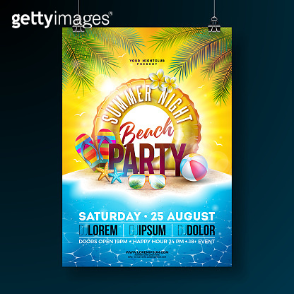 Vector Summer Night Beach Party Flyer Design with Tropical Palm Leaves and Float on Ocean Landscape Background. Summer Holiday Illustration with Paradise Island, Beach Ball, Sunglasses and Lifebelt for Banner, Flyer, Invitation or Celebration Poster.