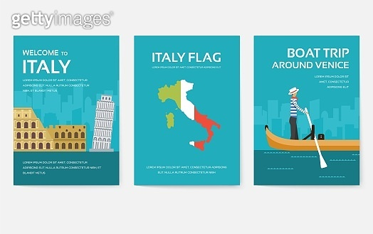 Set of Italy country ornament travel tour concept. Asia traditional, magazine, book, poster, abstract, element. Vector decorative ethnic greeting card or invitation design background