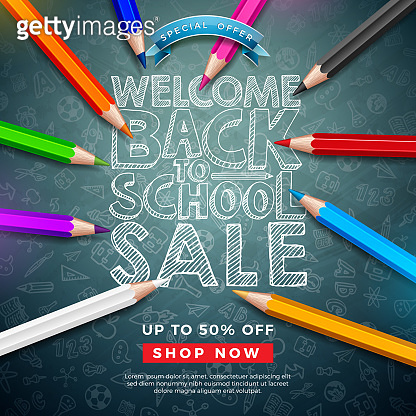 Back to School Sale Design with Colorful Pencil and Typography Letter on Chalkboard Background. Vector Illustration with Special Offer Elements for Coupon, Voucher, Banner, Flyer, Poster, Invitation or greeting card.