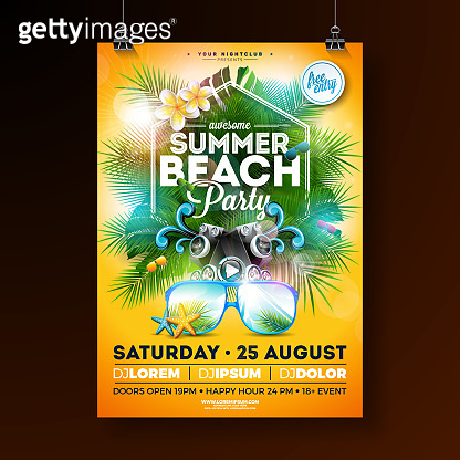 Summer Beach Party Flyer Design with flower, lifebelt and sunglasses on yellow background. Vector Summer Celebration Design template with nature floral elements, tropical plants and typograpy letter for banner, flyer, invitation, holiday poster.