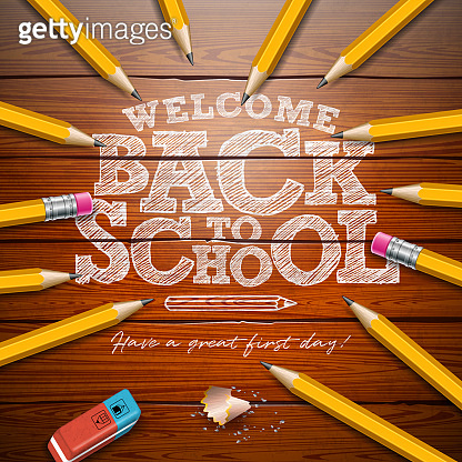 Back to school design with graphite pencil and typography lettering on vintage wood texture background. Vector School illustration for greeting card, banner, flyer, invitation, brochure or promotional poster.