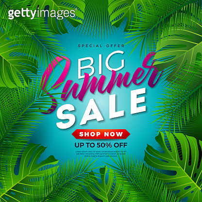 Summer Sale Design with Tropical Palm Leaves on Blue Background. Vector Special Offer Illustration with Summer Holiday Elements for Coupon, Voucher, Banner, Flyer, Promotional Poster, Invitation or greeting card.