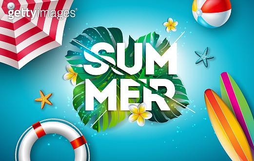Vector Summer Holiday Illustration with Flower and Tropical Palm Leaves on Ocean Blue Background. Typography Letter, Lifebelt, Beach Ball and Surf Board on Paradise Island for Banner, Flyer, Invitation, Brochure, Poster or Greeting Card.