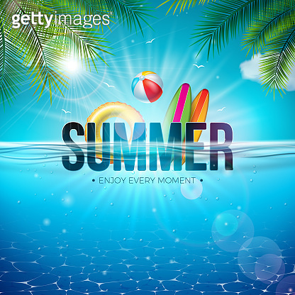 Vector Summer Illustration with Beach Ball, Palm Leaves, Surf Board and 3d Typography Letter on Underwater Blue Ocean Background. Realistic Summer Vacation Holiday Design for Banner, Flyer, Invitation, Brochure, Poster or Greeting Card.