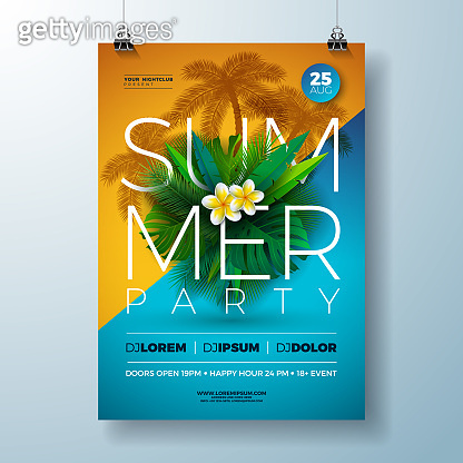 Vector Summer Party Flyer Design with Flower and Tropical Palm Leaves on Blue and Yellow Background. Summer Holiday Celebration Illustration with Exotic Plants and Typography Letter for Banner, Flyer, Invitation or Poster.