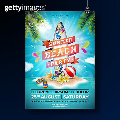 Summer Beach Party Flyer Design with flower, beach ball and surf board. Vector Summer nature floral elements, tropical plants and typographic elements on blue cloudy sky background. Design template for banner, flyer, invitation, poster.