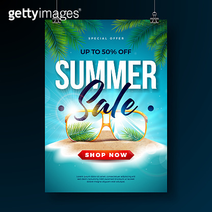 Summer Sale Poster Design Template with Exotic Palm Leaves and Sunglasses on Tropical Island Background. Vector Special Offer Illustration with Blue Ocean Landscape for Coupon, Voucher, Banner, Flyer, Promotional Poster, Invitation or greeting card.