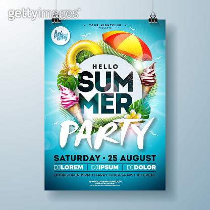 Vector Summer Party Flyer Design with Typography Letter, Sunshade and Ice Cream on Ocean Blue Background. Summer Vacation Holiday Illustration Template for Banner, Flyer, Invitation or Celebration Poster.