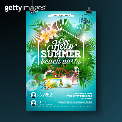 Summer Beach Party Flyer Design with flower, lifebelt and sunglasses on blue background. Vector Summer Design template with nature floral elements, tropical plants and typograpy letter on blue cloudy sky background for banner, flyer, invitation, poster.