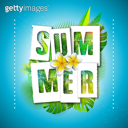 Vector Summer Holiday Illustration with Typography Letter and Tropical Palm Leaves on Ocean Blue Background. Exotic Plants and Flower for Banner, Flyer, Invitation, Brochure, Poster or Greeting Card.