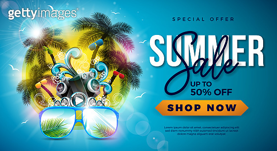 Summer Sale Design with Palm Trees and Sunglasses on Tropical Island Background. Vector Special Offer Illustration with Speaker and Blue Ocean Landscape for Coupon, Voucher, Banner, Flyer, Promotional Poster, Invitation or greeting card.