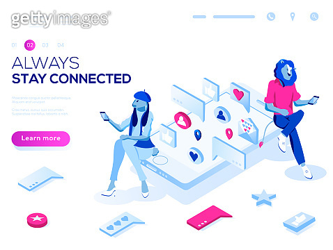 Vector 3d isometric landing page concept. Virtual relationships, online dating and social networking illustration concept. Teenagers chatting on the Internet