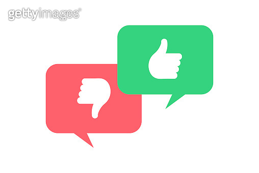 Vector feedback survey flat icon set. Talk bubbles with green thumb up and red thumbs down symbols on white background. Design element for marketing research, client testimonail, response, web